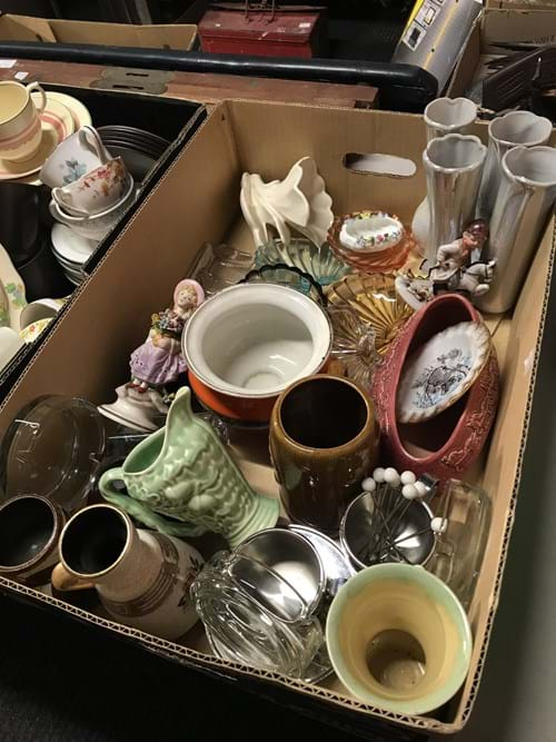 LOT 1 	~	Box of China, Glass etc