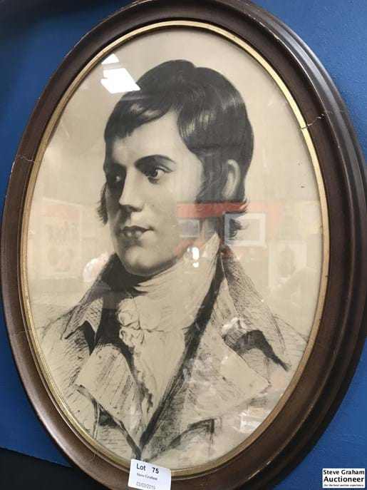 LOT 75	~	Framed Print Of Robbie Burns With New Burns DISCOVERY AT DUNDEE Verso