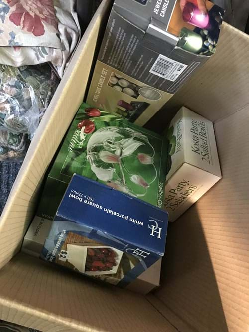 LOT 89	~	Box of New Candles, Bowls etc.