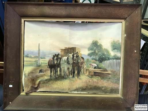 "LOT 87	~	Pr Early Australian Oil Paintings on Canvas "" Working The Horses"""