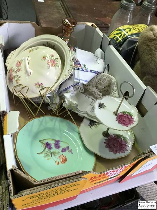 LOT 93	~	Box Lot Decanter, China, Plate Stands etc