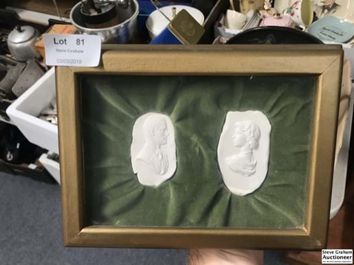 LOT 81	~	2  Wedgwood Factory Jasperware Mould /Imprints - Framed c1952 with provenance