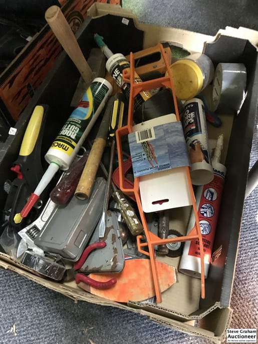 LOT 94	~	Box of Assorted Tools Etc