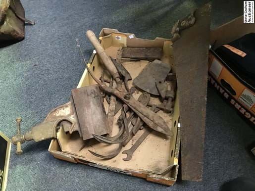 LOT 96	~	Tray of Rustic Tool Heads, Tools etc.