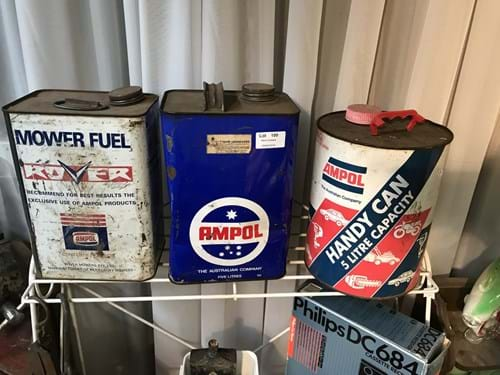 LOT 100	~	3 x Ampol Mower Fuel Cans