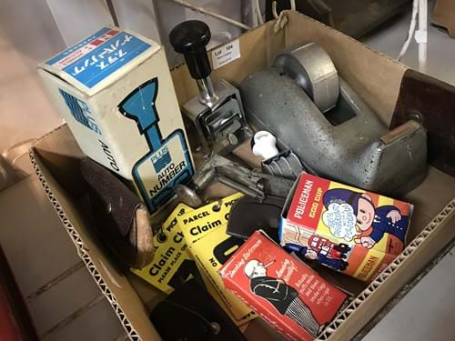 LOT 104	~	Box of Vintage Office Equipment, Novelties etc