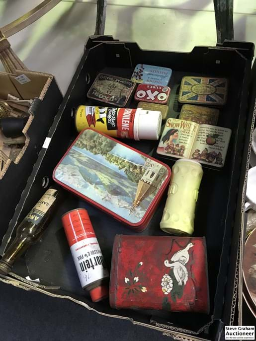 LOT 105	~	Box of Tins, Bottle Etc
