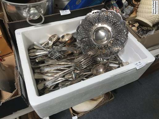 LOT 92	~	Box of Silverplate Cutlery etc