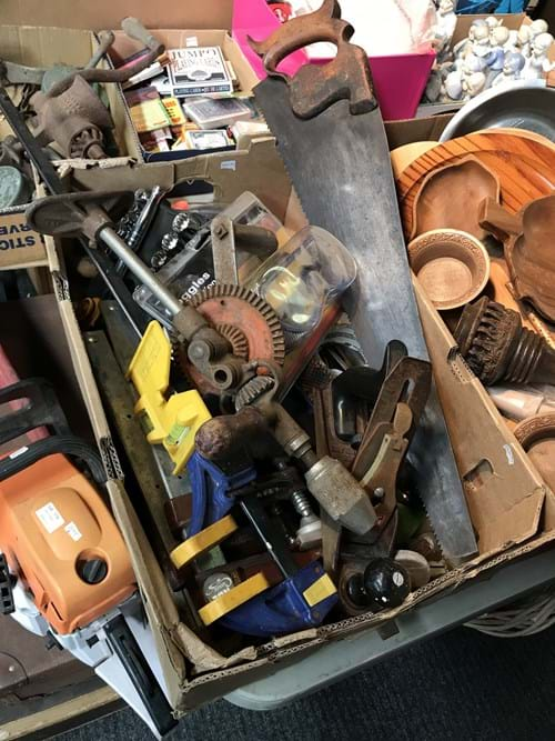 LOT 12	~	Box of Asstd Tools incl Vintage Brace Drill, Plane, Clamps
