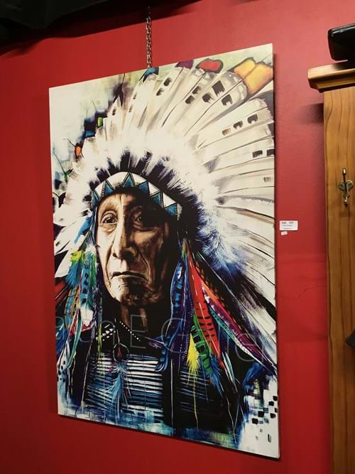 LOT 117	~	Indian Chief Print on Canvas