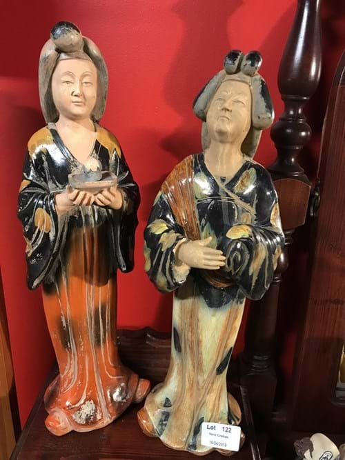 LOT 122	~	2 Oriental Lady Figurines