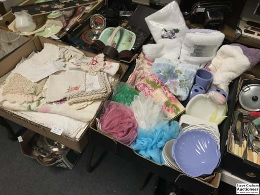 LOT 104	~	Box of Embroidery & Crochet + Box of Bathroom Items