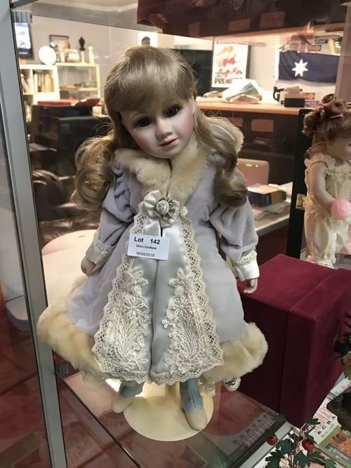 LOT 142	~	Porcelain Doll - Blue Dress