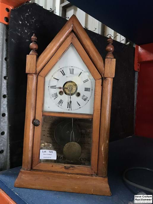 LOT 123	~	1800's Steeple Clock working with  key & pendulum