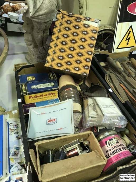 LOT 149	~	Box of Collectables inc Valves, Funnels, Tapes etc