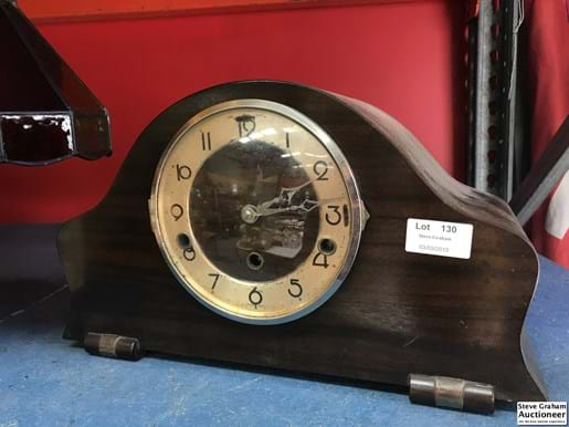LOT 130	~	Timber Cased Clock w Key