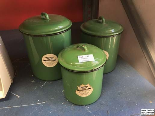 LOT 131	~	Set of 3 Enamel Canisters