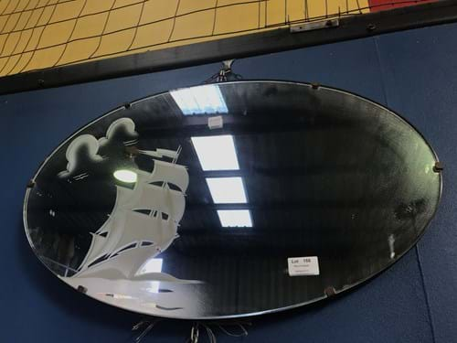 LOT 158	~	Art Deco 1930's  Oval Wall Mirror