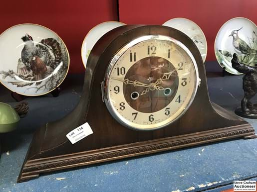 LOT 134	~	Napolean Hat Mantle Clock - Made in England Timber Cased w Key