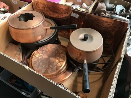 LOT 18	~	Copper Fondue Set, Placemats, Coasters