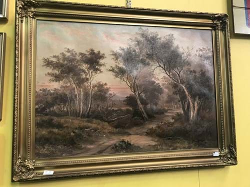 LOT 165	~	Hal Morland 1912 Landscape Painting on Canvas in Ornate Gilt Frame