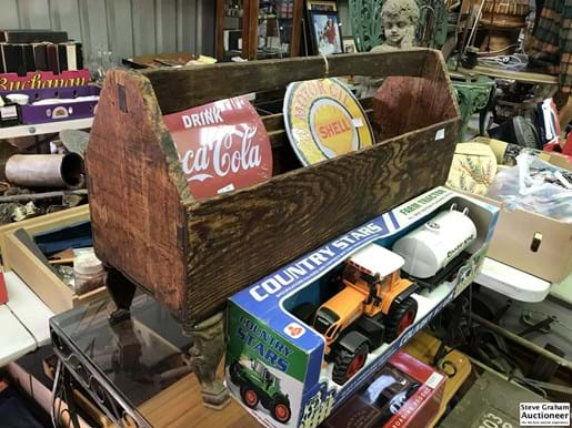 LOT 177	~	Timber Carry Crate on Cast Iron Legs