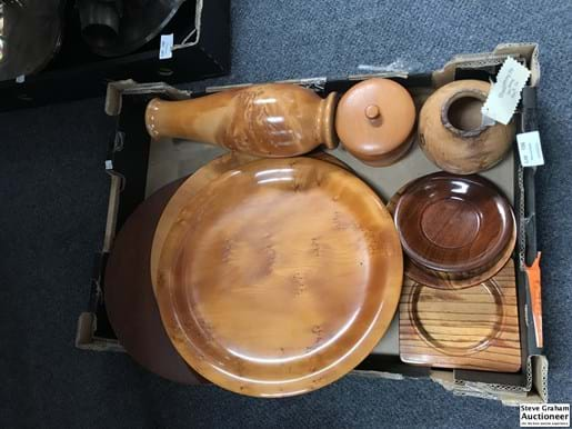 LOT 156	~	Box of Timber Plates, Bowls, Vase etc.