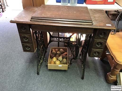 LOT 180	~	Singer Treadle Base Sewing Machine  - w Contents