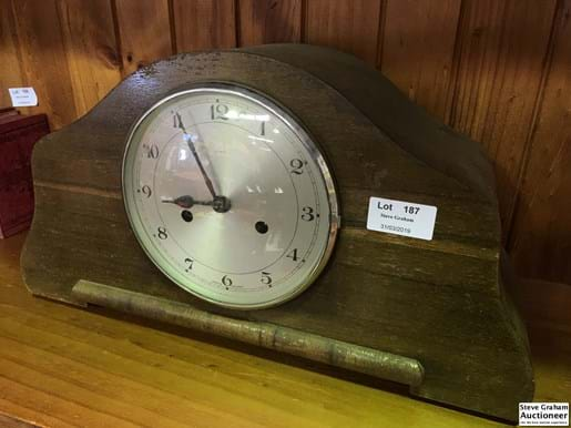 LOT 187	~	Enfield Timber Cased Mantle Clock w/key