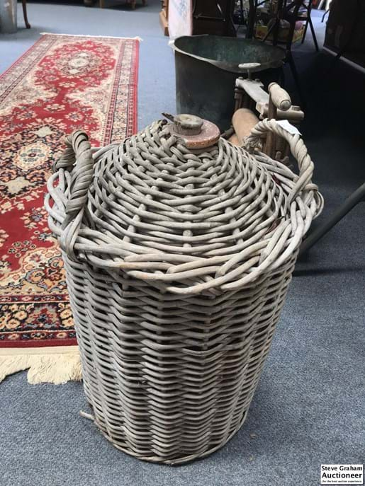 LOT 164	~	Large Antique Stoneware Bottle in Wicker Carry Basket