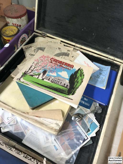 LOT 23	~	Timber Case of Collectors Cards etc.