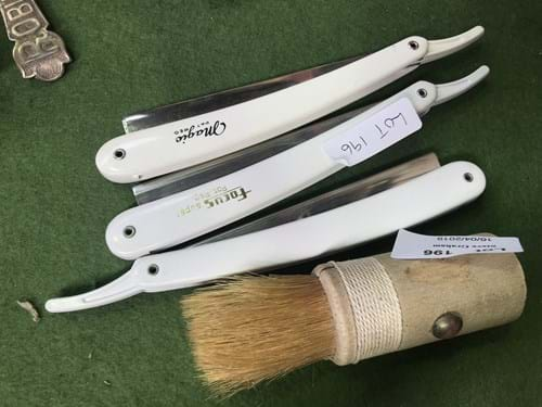 LOT 196	~	3 Cut Throat Razors & Shaving Brush