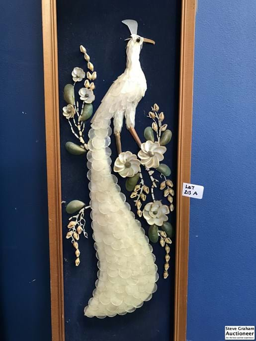 LOT 213A	~	Pr Framed Peacock Shell Displays