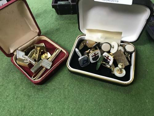LOT 201	~	Qty Cufflinks, Tie Clips, Watches etc