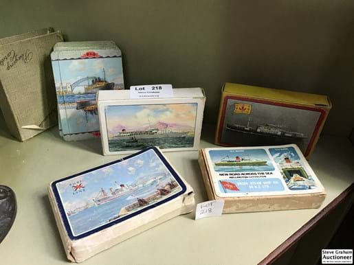 "LOT 218	~	5 Decks of Vintage Playing Cards ""Ships"""