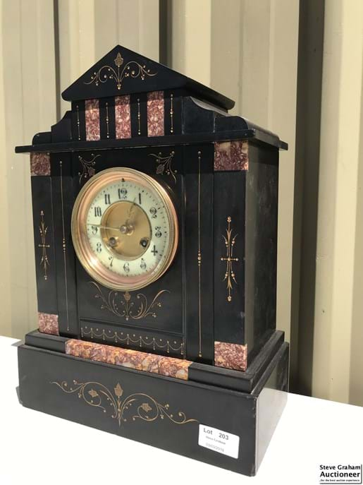 LOT 203	~	Victorian Marble Cased Mantle Clock w/ k&p