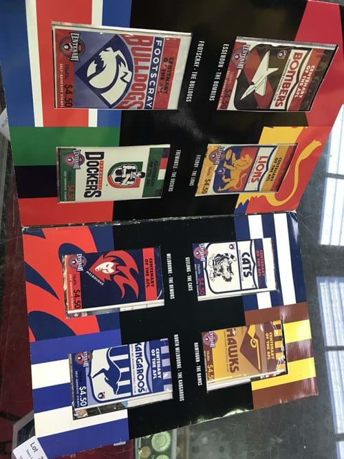 LOT 216	~	AFL Centenary Stamp Booklet Collection - 16 Clubs
