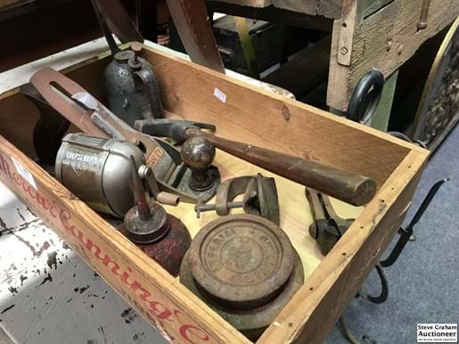 LOT 246	~	Old Box with Hand Plane, Pencil Sharpener etc
