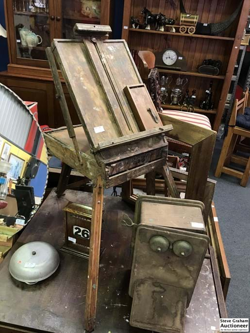 LOT 251	~	Rustic Old Easel w Storage