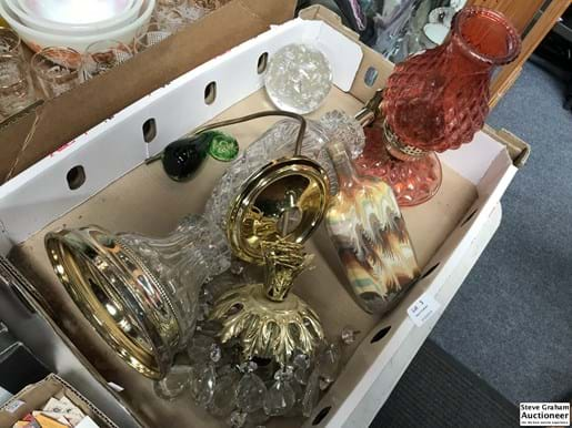 LOT 3	~	Box Lot of Lamps, Crystal Drop Light Shade, Art Glass etc