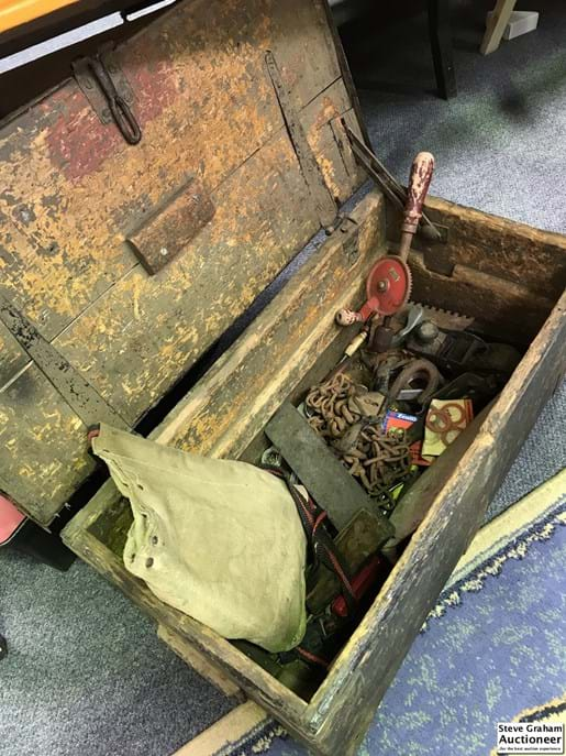 LOT 261	~	Old Timber Tool Trunk w Contents