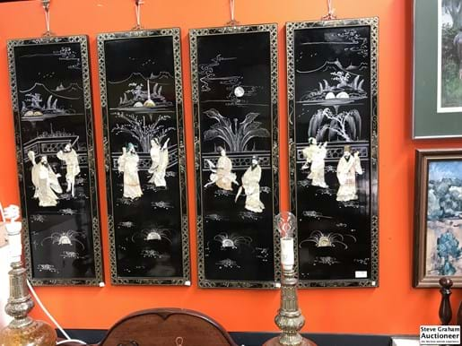 LOT 266	~	4 Chinese Mother of Pearl Inlaid Storyboard Wall Panels