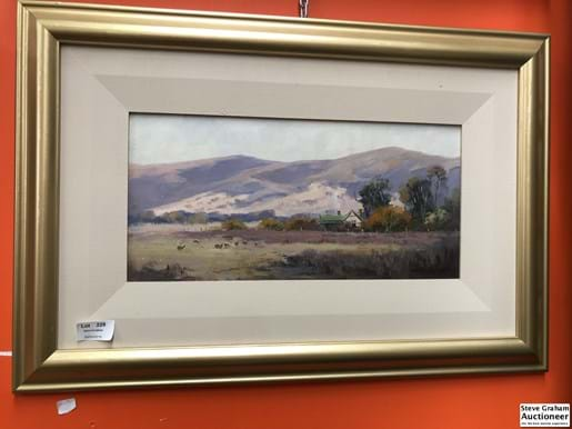 "LOT 229	~	Richard Chamerski Oil on Board ""Late Afternoon Macedon""  18cm x 38cm"