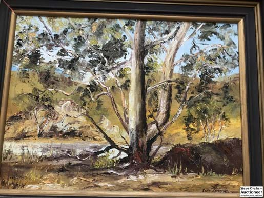 LOT 231	~	Oil Painting,The Old River Red Gum Flinders Ranges By Karin Burggraf