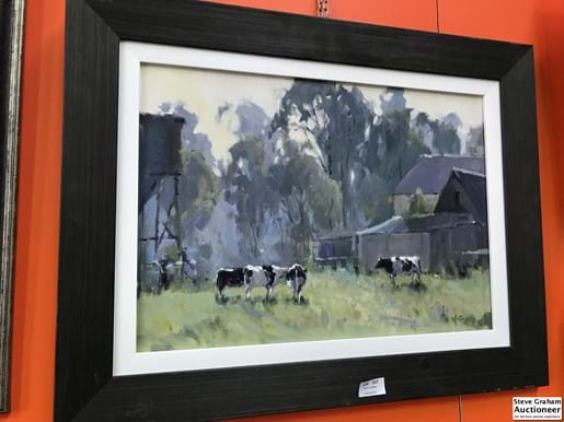 LOT 237	~	Ros Psakis (Born C1947) Freisan Cows After Milking, oil on canvas board, 35 x 50 cm - signed lower right
