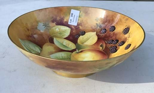LOT 240	~	Caverswall Hand Painted Fruit & Berries Bowl signed hancock