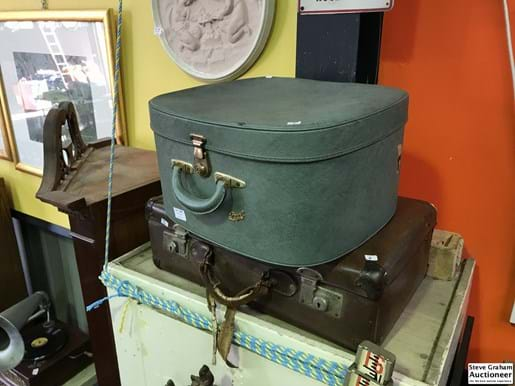 LOT 246	~	Brown Leather Suitcase & Retro Regal Green Suitcase