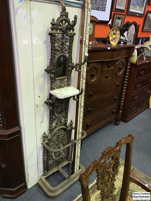 LOT 247	~	Victorian Ornate Cast Iron Hall Stand - with Marble Shelf