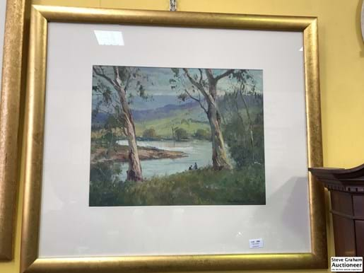 "LOT 256	~	Wykham Perry Oil on Board - ""By The River"""