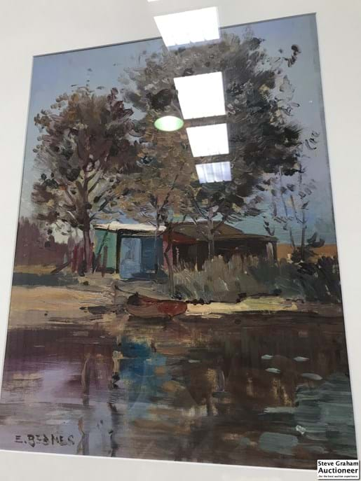 "LOT 263	~	Emile Bednes (b1938-) Oil Painting on board ""The Hut on The River""  46cm x 35cm"